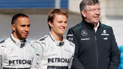 Lewis Hamilton (left), Nico Rosberg (centre) and Ross Brawn