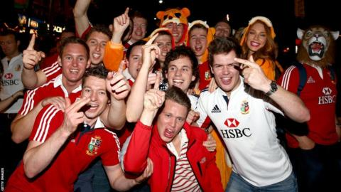 British and Irish Lions fans in Brisbane