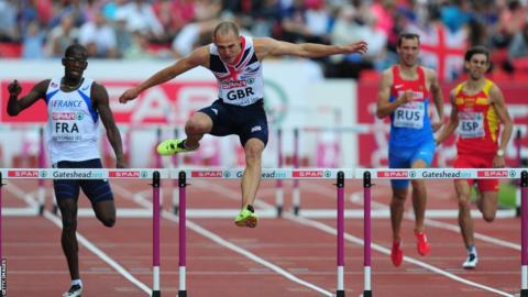 World 400m hurdles champion Dai Greene suffered a shock defeat at the European Team Championships in Gateshead, finishing second behind Germany's Silvio Schirrmeister.