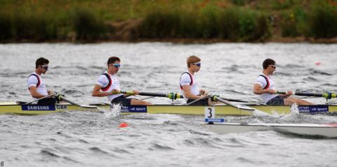 Wales' Chris Bartley, far right, joins Great Britain team-mates Adam Freeman-Pask, William Fletcher and Jonathan Clegg in winning World Rowing Cup lightweight men's four bronze at Eton Dorney