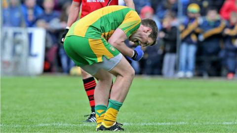 Declan Walsh celebrates as the final whistle is blown at the end of Donegal's three-point win over Down in the 2013 Ulster football semi-final