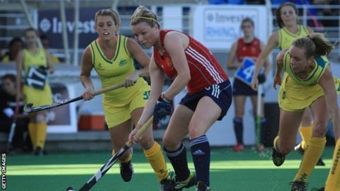Hollie Webb in action for England against Australia