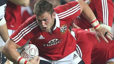 Dan Lydiate in action for the British and Irish Lions