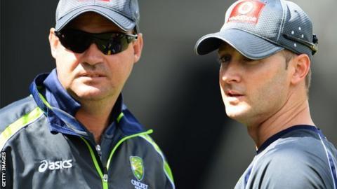 Mickey Arthur (left) and Australia captain Michael Clarke