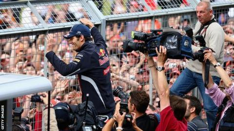 Mark Webber celebrates winning the 2012 British Grand Prix