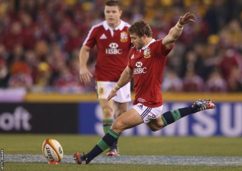 Leigh Halfpenny maintained his fine kicking form on the tour with four successful penalties to give the Lions a 12-9 interval lead.