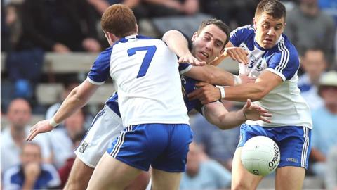 Monaghan pair Kieran Duffy and Drew Wylie ensure there is no way past for Eugene Keating in the Ulster SFC semi-final against Cavan at Clones