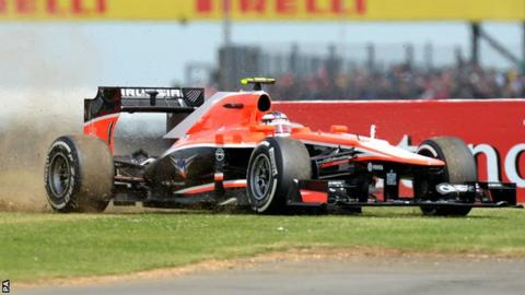 Max Chilton leaves the track
