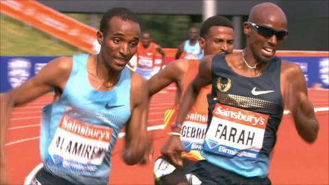 Mo Farah races against Ethiopians Yenew Alamirew and Hagos Gebrhiwet