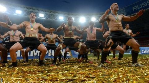 New Zealand celebrate after their Rugby World Cup Sevens success