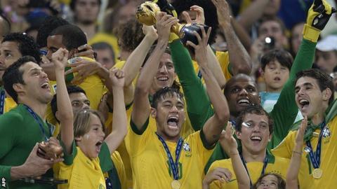 Brazil celebrate Confederations Cup win