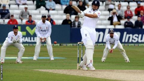 England captain Alastair Cook hits 82 before retiring in the Ashes warm-up match against Essex