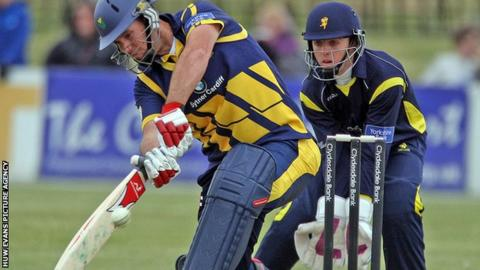 Jim Allenby in action for Glamorgan against Unicorns