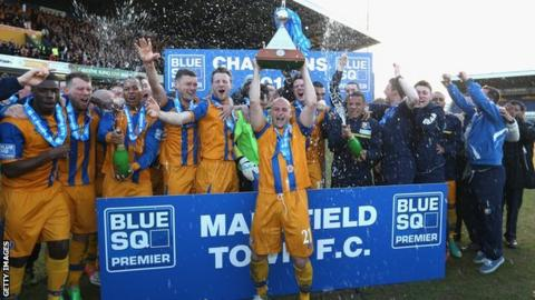 Mansfield celebrate winning the 2012/13 Conference title