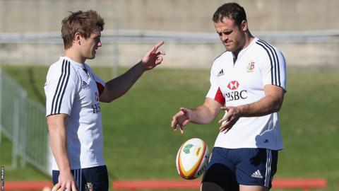 Welsh centres Jonathan Davies and Jamie Roberts discuss tactics during the British and Irish Lions' training session ahead of the third and final Test against Australia in Sydney.