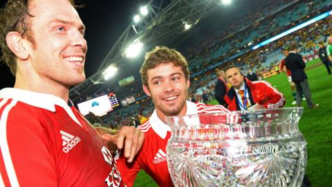 Captain Alun Wyn Jones and man-of-the-series Leigh Halfpenny are all smiles after the Lions' 41-16 series clinching victory over Australia in Sydney.