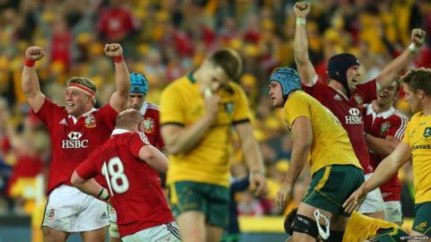 Australia v British and Irish Lions third Test Lions celebrate at full-time