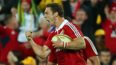 George North punches the air with delight after scoring a try for the British and Irish Lions in the 41-16 win over Australia in the third Test match in Sydney.