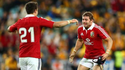Leigh Halfpenny and Connor Murray celebrate after the British and Irish Lions' 41-16 win over Australia in the third and final Test match in Sydney which clinched a 2-1 series win.