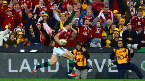 George North powers over for the Lions' third try