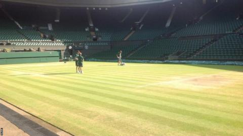 Line repainting at Centre Court