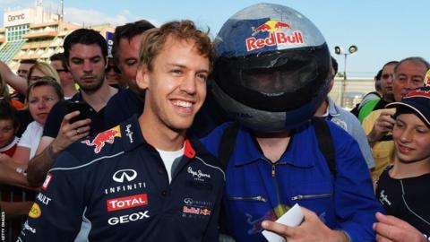 Sebastian Vettel with fan