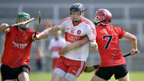 Brendan Rogers with Michael Ennis and Fintan Conway as Derry beat Down in the Ulster Hurling semi-final replay