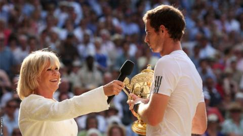 Sue Barker interviews Wimbledon champion Andy Murray