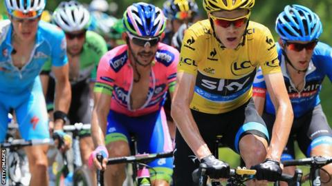 Chris Froome is pursued in Stage Nine of the Tour de France