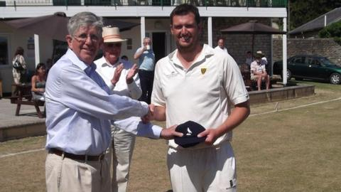 Neil Ivamy receives his Cornwall cap.