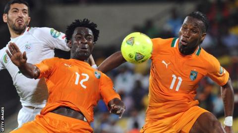 Wilfried Bony with Didier Drogba playing together for Ivory Coast