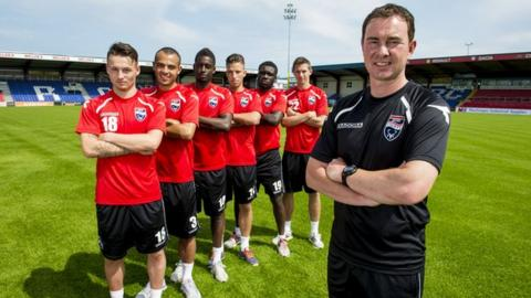 Ross County manager Derek Adams and his new signings