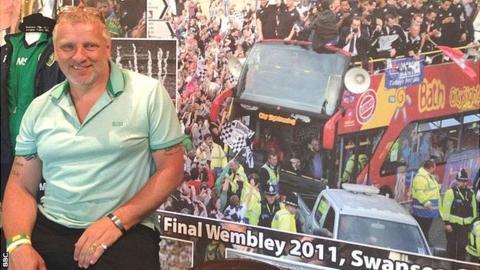 John Van Zweden pictured in front of his Swansea City wallpaper