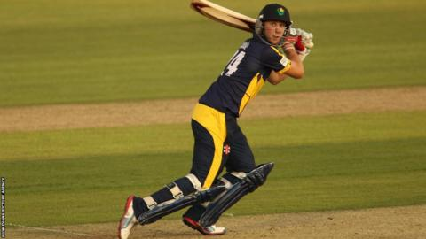 Glamorgan's Chris Cooke plays a shot