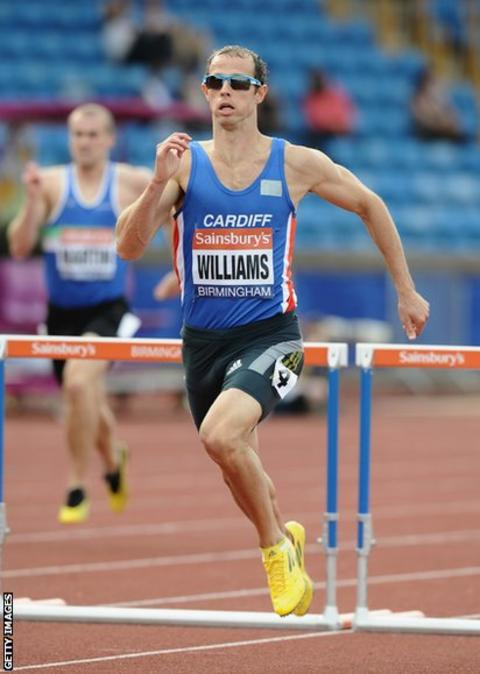 Rhys Williams wins his 400m hurdles heat at the British Championships and World Championships trials in Birmingham