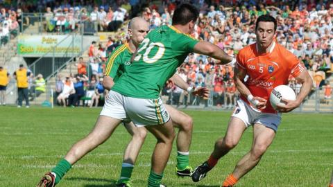 Aaron Kernan bursts forward for Armagh in Saturday's second-round qualifier against Meath at a sun-kissed Carrick-on-Shannon