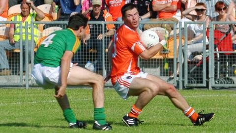 Armagh's Eugene McVerry, in possession at Carrick-on-Shannon, netted a hat-trick in Armagh's 8-13 to 0-10 hammering of Leitrim