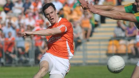 Peter Shields fires home one of Armagh's eight goals against Leitrim in the one-sided qualifier