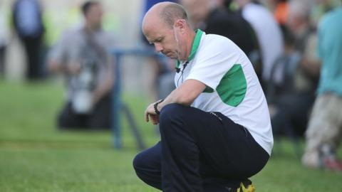 Fermanagh manager Peter Canavan checks his watch but time runs out for the Ernemen as they lose 1-14 to 0-10 against Cavan