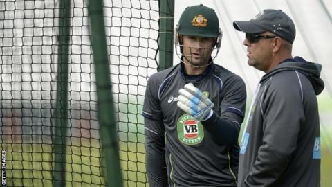 Australia coach Darren Lehmann (right) and captain Michael Clarke