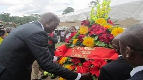 Cameroon Sports Minister Adoum Garoua at Mfede's burial