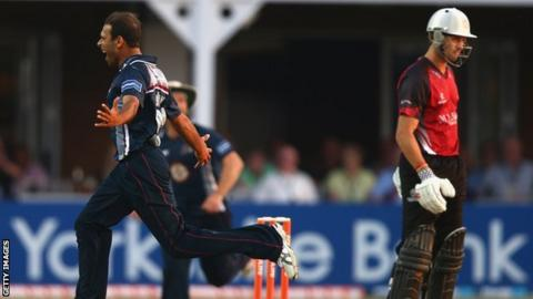 Mohammad Azharullah of Northants celebrates dismissing Nick Compton of Somerset