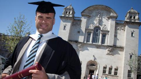 Wales and British and Irish Lions centre Jamie Roberts graduates as doctor in a degree ceremony at Cardiff University