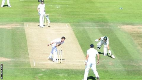 Ashton Agar is run out during Australia's collapse to 128 all out at Lord's