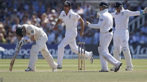 Australia batsman Michael Clarke is dismissed against England in the second Ashes Test at Lord's