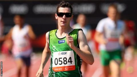 Michael McKillop on the way to winning the T37 800m gold on Sunday