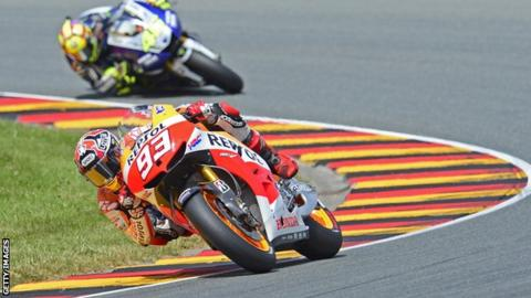 Marc Marquez (front) and Valentino Rossi