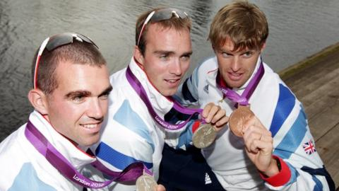 NI's medal-winning rowers Richard Chambers, Peter Chambers and Alan Campbell