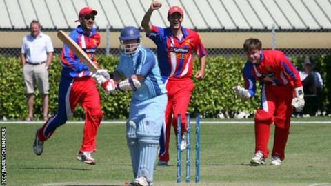 Jersey celebrate a wicket v Argentina