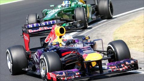 Sebastian Vettel leads Charles Pic at the Hungaroring